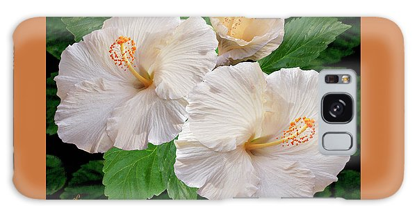Dreamy Blooms - White Hibiscus Galaxy Case by Ben and Raisa Gertsberg