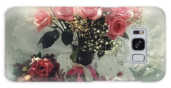Vase Of Flowers Galaxy Case - Dreamy Cottage Chic Pink Roses And Teapot  by Kathy Fornal
