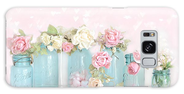 Dreamy Shabby Chic Pink White Roses  - Vintage Aqua Teal Ball Jars Romantic Floral Roses  Galaxy Case