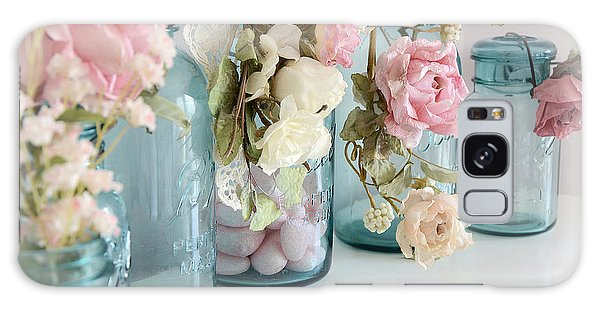 Shabby Chic Roses Blue Aqua Ball Mason Jars - Roses In Aqua Blue Mason Jars - Shabby Chic Decor Galaxy Case
