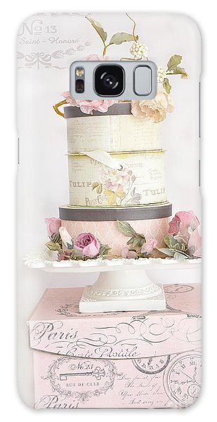 Cottage Galaxy Case - Shabby Chic Cottage Paris Pink Boxes Of Roses - Romantic Cottage Chic Parisian Flowers Wall Prints by Kathy Fornal