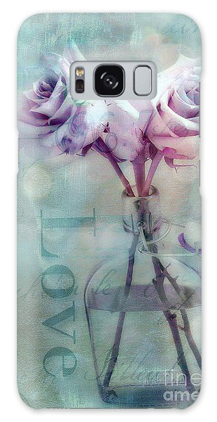 Roses Dreamy Shabby Chic Pink Roses Teal Aqua Impressionistic Cottage Pink Aqua Teal Love Roses Galaxy Case