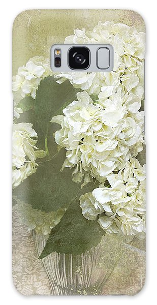 Vase Of Flowers Galaxy Case - Hydrangea Floral Vintage Cottage Chic White Hydrangeas - Shabby Chic Dreamy White Floral Art  by Kathy Fornal