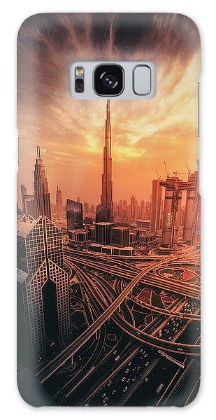 Tall Galaxy Case - Dubai's Fiery Sunset by David George