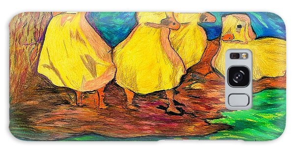 Ducklings Out By The Water Galaxy Case