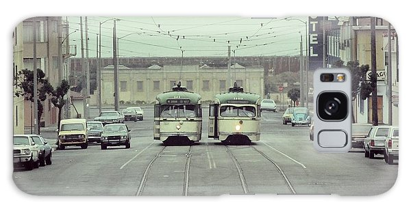 N Judah Dueling Streetcars.  End Of Judah Street.  1970s. Galaxy Case