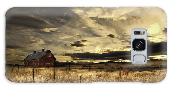 Dusk At The Red Barn Galaxy Case