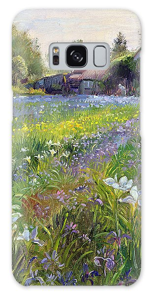 Spring Flowers Galaxy S8 Case - Dwarf Irises And Cottage by Timothy Easton