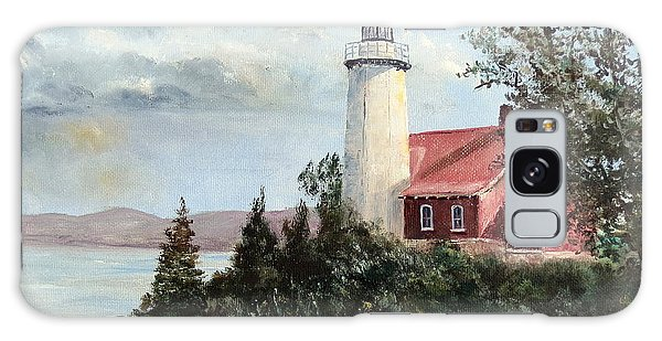 Eagle Harbor Light Galaxy Case by Lee Piper