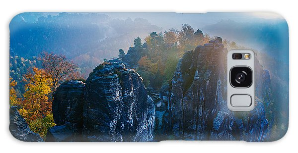 Early Morning Mist At The Bastei In The Saxon Switzerland Galaxy Case