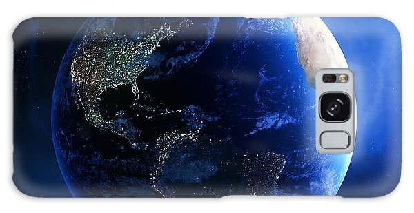 Earth Galaxy Case - Earth And Galaxy With City Lights by Johan Swanepoel