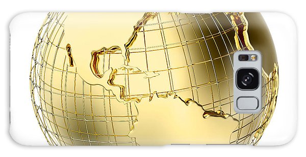 Earth Galaxy Case - Earth In Gold Metal Isolated On White by Johan Swanepoel