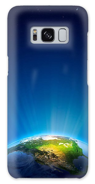 Usa Map Galaxy Case - Earth Radiant Light Series - North America by Johan Swanepoel