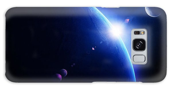 Earth Galaxy Case - Earth Sunrise With Moon In Space by Johan Swanepoel