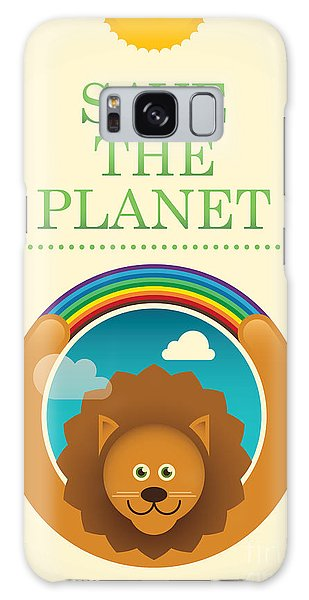Ecology Galaxy Case - Ecology Poster With Comic Lion. Vector by Radoman Durkovic