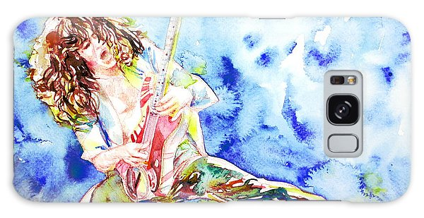 Eddie Van Halen Playing The Guitar.1 Watercolor Portrait Galaxy Case by Fabrizio Cassetta