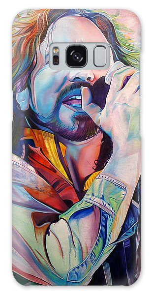 Pearl Jam Galaxy Case - Eddie Vedder In Pink And Blue by Joshua Morton