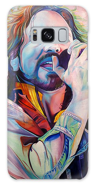 Pearls Galaxy Case - Eddie Vedder In Pink And Blue by Joshua Morton