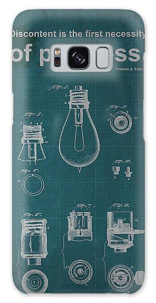 Blueprint Galaxy Case - Edison Quote Lamp Patent Blueprint by Drawspots Illustrations