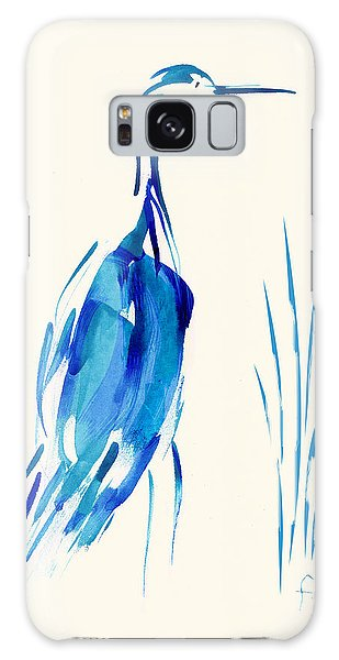 Egret In Blue Mixed Media Galaxy Case
