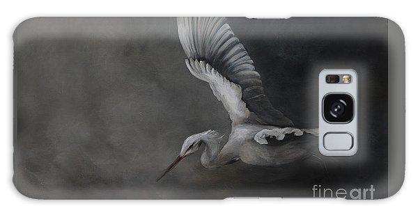 Egret In Flight Galaxy Case