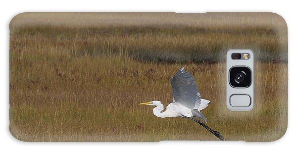 Egret In Flight Over Swamp Grass Galaxy Case