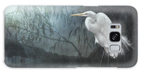 Egret In Moonlight Galaxy Case