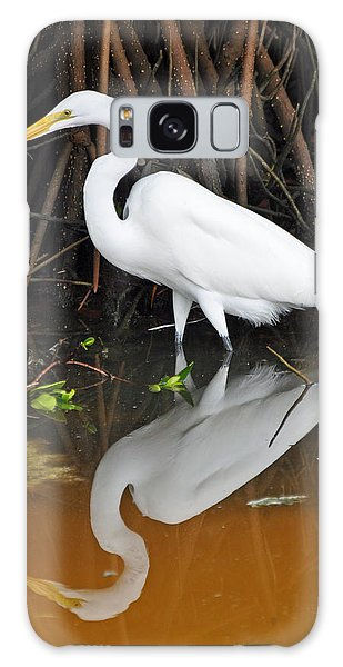 Egret Reflected In Orange Waters Galaxy Case