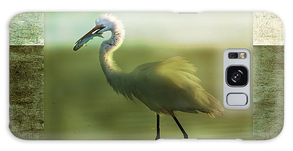 Egret With Fish Galaxy Case