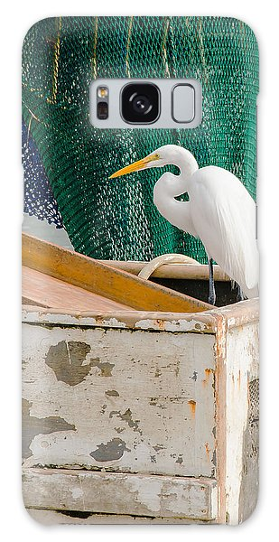Egret With Fishing Net Galaxy Case