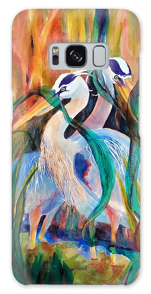 Egrets In Red 2            Galaxy Case