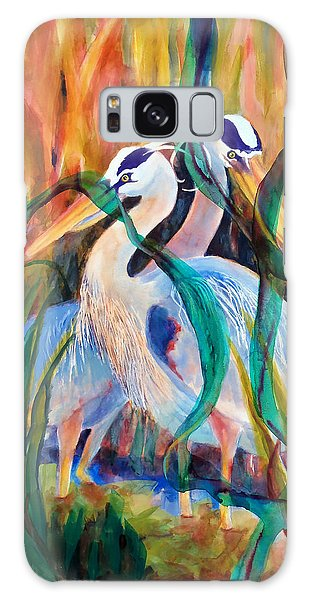 Egrets In Red 2            Galaxy Case by Kathy Braud