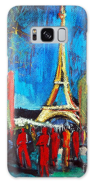 Abstract People Galaxy Case - Eiffel Tower And The Red Visitors by Mona Edulesco