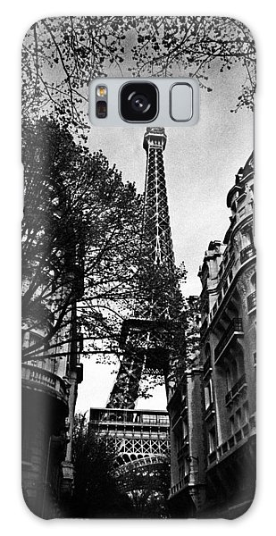 French Galaxy Case - Eiffel Tower Black And White by Andrew Fare