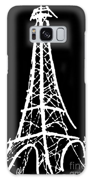 Eiffel Tower Paris France White On Black Galaxy Case