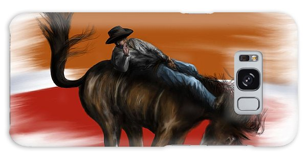 Eight Seconds - Rodeo Bronco Galaxy Case by Ron Grafe