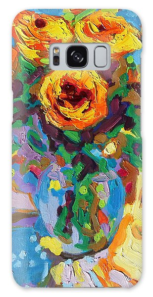 Eight Yellow Roses Oil Painting Bertram Poole Apr14 Galaxy Case