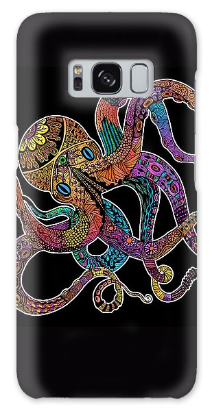 Electric Octopus On Black Galaxy Case