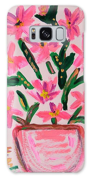 Electric Pink Flowers Galaxy Case