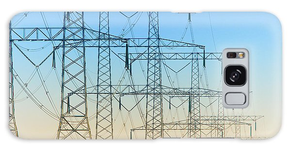 Electricity Pylons Standing In A Row Galaxy Case