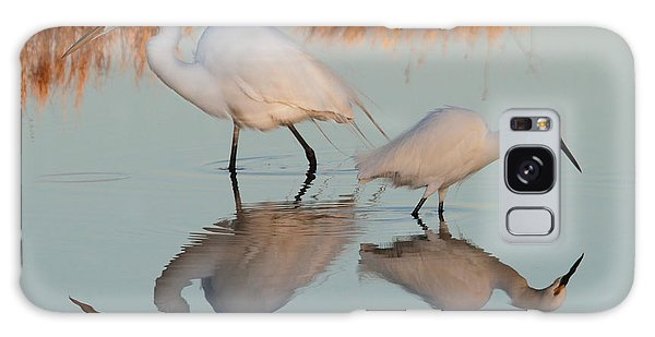 Elegant Big And Small Great White And Snowy Egrets Galaxy Case