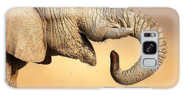 Close Up Galaxy Case - Elephant Drinking by Johan Swanepoel