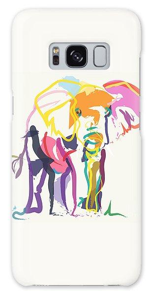 Elephant In Color Ecru Galaxy Case by Go Van Kampen