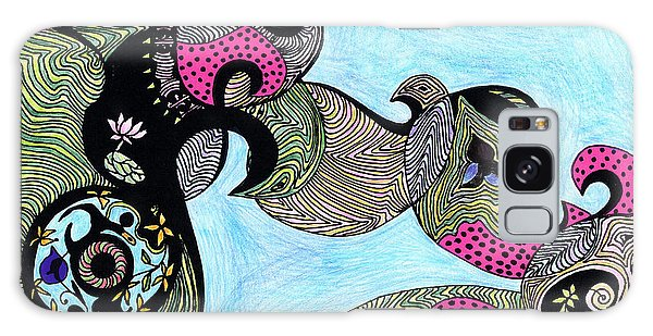 Elephant Lotus And Bird Design Galaxy Case by Mukta Gupta