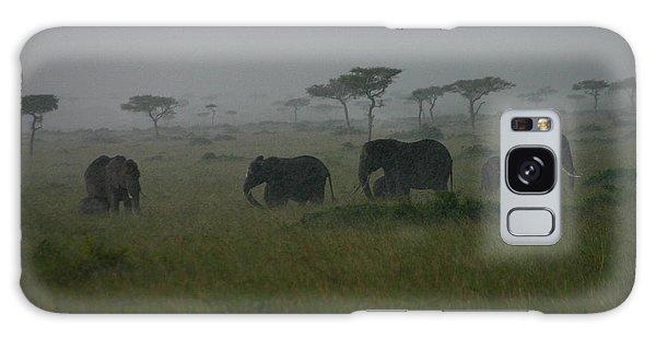 Elephants In Heavy Rain Galaxy Case by Menachem Ganon