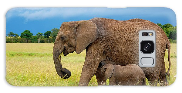 Elephants In Masai Mara Galaxy Case by Charuhas Images