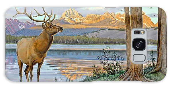 Mountain Lake Galaxy Case - Elk In The Sawtooths by Paul Krapf