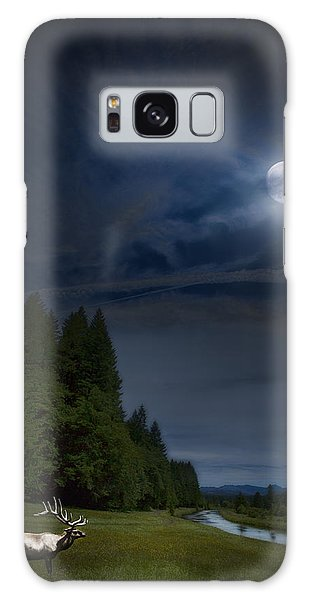 Galaxy Case featuring the photograph Elk Under A Full Moon by Belinda Greb