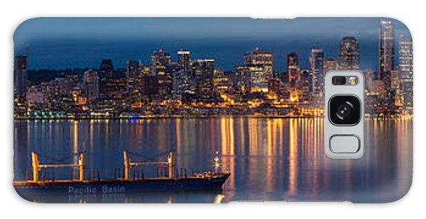 Elliott Bay Seattle Skyline Night Reflections  Galaxy Case by Mike Reid