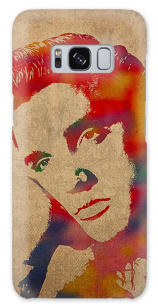 Galaxy Case - Elvis Presley Watercolor Portrait On Worn Distressed Canvas by Design Turnpike